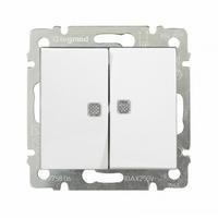Выключатель двойной с подсветкой / переключатель на 2 напр. двухклавишный - Valena 10 A 250 В~ White Legrand купить по оптовой цене