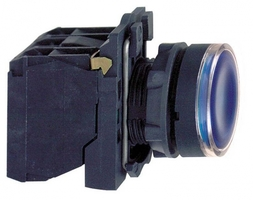 Кнопка синяя с подсветкой 1но/1нз XB5AW36B5 Schneider Electric 22мм 24В возвр купить в Москве по низкой цене