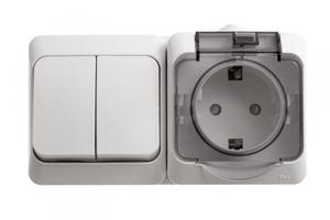 ЭТЮД Блок Выключатель двухклавишный/Розетка наружная с заземлением со шторками IP44 белый BPA16-242B Schneider Electric, цена, купить