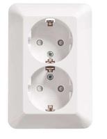 ПРИМА Розетка двойная скрытая белая с заземлением и шторками 16А 250В RS16-212-B Schneider Electric, цена, купить