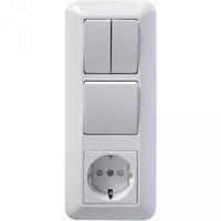 Блок скрытой установки BK2VR-006A-B (Розетка с заземлением+Выключатель одноклавишный+Выключатель двухклавишный) белый ПРИМА Schneider Electric купить по оптовой цене