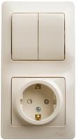 Блок: розетка с заземлением со шторками + выключатель двухклавишный бежевый GSL000274 Schneider Electric, цена, купить