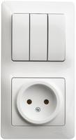 Блок: розетка + выключатель трехклавишный белый GSL000176 Schneider Electric, цена, купить