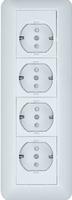 ПРИМА Розетка 4 поста наружная с заземлением 250В 16А со шторками белая монтажная пластина RA16-411M-B Schneider Electric, цена, купить