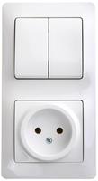 Блок: розетка + выключатель двухклавишный белый Schneider Electric купить по оптовой цене