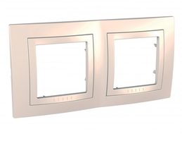 Рамка 2-м Unica с декор. накл. беж. SchE MGU2.004.25 Schneider Electric 2 поста купить в Москве по низкой цене