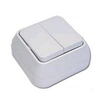 Выключатель 2-клавиш. 10А о/у белый глянц. возвратно-нажимной IP20 Makel 45103 купить по оптовой цене