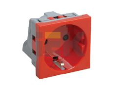 Розетка с з/к 2к, 2 модуля (красная) РКС-20-32-П CKK-40D-RSZK2-K04 ИЭК