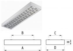 Светильник TL236-1 2х36Вт накл 1233х310 зеркальный растр ЭмПРА 10065 Technolux