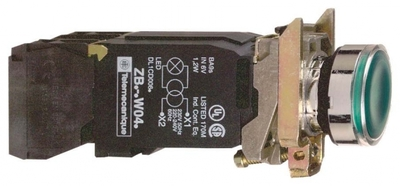 Кнопка зеленая с подсветкой 120В XB4BW3335 Schneider Electric 22мм 110-120В возвр цена, купить