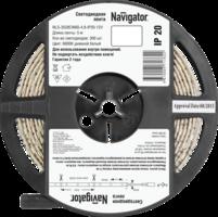 Световая лента со светодиод. (LED) 60 ламп/м 4.8Вт/м цвет белый 6000К 12В DC самоклеющ-ся IP20 Navigator 71762 NLS-3528 купить по оптовой цене