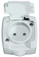 РОНДО Розетка наружная без заземления 250В 10А со шторками белая IP44 RA10-125B-BI Schneider Electric, цена, купить