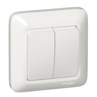 ПРИМА Выключатель двухклавишный скрытый 250В 6А белый S56-043-BI Schneider Electric, цена, купить