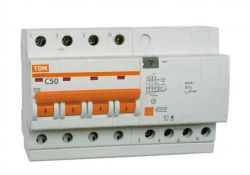 Автоматический выключатель дифференциального тока АД14 4Р 25А 30мА SQ0204-0033 TDM