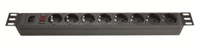 Блок розеток для 19дюймовых шкафов 8 розеток Schuko выключатель R519SH8OPSHC14 DKC, цена, купить