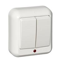 ПРИМА Выключатель наружный двухклавишный с монтажной пластиной белый A56-007M-B Schneider Electric, цена, купить