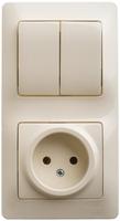 Блок: розетка + выключатель двухклавишный бежевый GSL000272 Schneider Electric, цена, купить