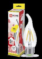 Лампа светодиодная LED-свеча на ветру-deco 5Вт 230В E27 3000К 450Лм прозрачная IN HOME 4690612007649 Е27 купить по низким ценам
