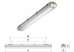 Светильник TLWP236 PC EL EМ 2х36Вт IP65 поликарб/SAN ЭПРА блок авар питания 00856 Technolux