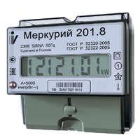 """Счетчик """"Меркурий"""" 201.8 1ф 5-80А 1 класс точн. тариф. ЖКИ табло DIN-рейка Инкотекс 32681 электроэнергии Меркурий однофазный D купить в Москве по низкой цене"""