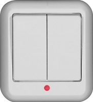 ПРИМА Выключатель наружный двухклавишный белый A56-007I-B Schneider Electric, цена, купить