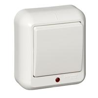 ПРИМА Выключатель одноклавишный наружный с подсветкой белый индивидуальная упаковка VA1U-111-BI Schneider Electric, цена, купить