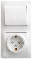 Блок: розетка с заземлением со шторками + выключатель двухклавишный белый GSL000174 Schneider Electric, цена, купить