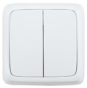 Выключатель открытой установки, двухклавишный, с изолирующей пластиной, цвет белый | ВА10-153 HEGEL купить по оптовой цене