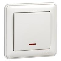 Выключатель 1-кл. СП W59 10А IP20 10AX с подсветкой в сборе бел. SchE VS110-153-18 Schneider Electric одноклавишный Wessen 59 цена, купить