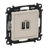 Механизм розетки USB 2-м Valena Life 240В/5В 1500мА с лицевой панелью сл. кость Leg 753512 Legrand купить по оптовой цене