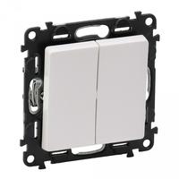 Механизм выключателя 2-кл. СП Valena Life 10А IP20 250В с лицевой панелью; безвинтовые зажимы бел. Leg 752405 Legrand купить по оптовой цене