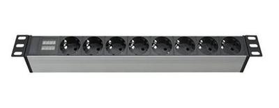 Блок распределения питания для 19дюйм шкафов, 16A 8 Х Schuko, индикатортока, вх. разъём Schuko R519SH8CD DKC, цена, купить