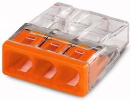 Клемма 3x2.5мм оранжевая/прозрачная 2273-203 WAGO, цена, купить