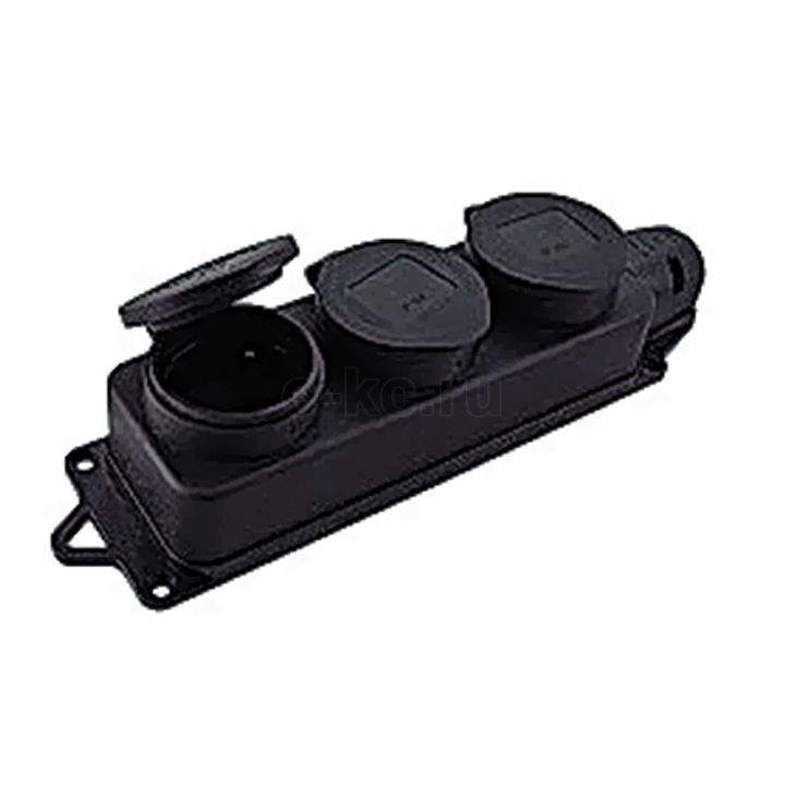 98c3305973e6 Розетка трехместная с защит. крышками каучуковая 230В 2P+PE 16A IP44  PROxima EKF RPS-015-16-230-44
