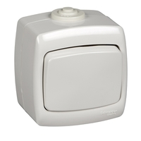 РОНДО Переключатель одноклавишный наружный IP44 белый VA610-126B-BI Schneider Electric, цена, купить
