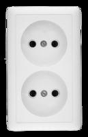 Розетка 2-м ОП Хит 16А IP20 без заземл. защ. шторок бел. SchE RA16-237-B Schneider Electric изол пласт 250В двойная наружная и купить в Москве по низкой цене