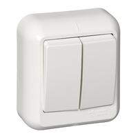 ПРИМА Выключатель двухклавишный наружный белый индивидуальная упаковка VA5U-214-BI Schneider Electric, цена, купить