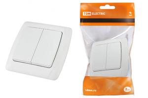 Выкл 2-клавиш. в сборе 10А 220-230В о/у белый глянц. IP20 TDM Онега SQ1805-0002 ELECTRIC купить по оптовой цене