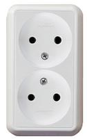 ПРИМА Розетка двойная наружная белая без заземления и шторок 16А 250В RA16-213-BI Schneider Electric, цена, купить