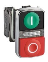 Кнопка двойная зеленая/красная LED с подсветкой 220В Schneider Electric XB4BW73731M5 МАРКИРОВКОЙ купить в Москве по низкой цене