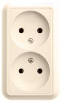 ПРИМА Розетка двойная наружная бежевая без заземления и шторок изолирующая пластина 16А250В RA16-213I-SI Schneider Electric, цена, купить