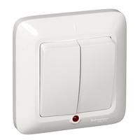 ПРИМА Выключатель двухклавишный скрытый с подсветкой белый VS5U-217-B Schneider Electric, цена, купить