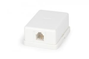 Розетка телефонная SB-1-6P4C-C2-WH RJ-12(6P4C), одинарная, внешняя, белая   15846 Hyperline купить по оптовой цене