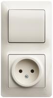 Блок: розетка + выключатель одноклавишный бежевый GSL000260 Schneider Electric, цена, купить