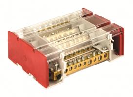 Блок распределительный на DIN рейку c выносной клеммой 4р 160А 7х7мм 1х8мм 1х9мм 1х12м BD3160104 DKC, цена, купить