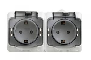 ЭТЮД Розетка двойная наружная с заземлением со шторками IP44 белая PA16-244B Schneider Electric, цена, купить