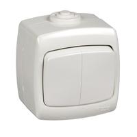 РОНДО Выключатель двухклавишный наружный 250В 6А белый IP44 VA56-225B-BI Schneider Electric, цена, купить