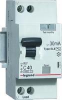 АВДТ RX3 6000 - 6 кА тип характеристики С 1П+Н 230 В~ 40 А AС 30 мА 2 модуля (419403) Legrand купить по оптовой цене