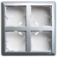 Коробка подъемная W59 для наружного монтажа с рамкой 4-местная матовый хром SchE KP-452-58 Schneider Electric купить по оптовой цене