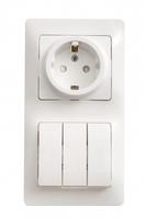 Блок: розетка с заземлением со шторками + выключатель трехклавишный белый (GSL000178) Schneider Electric купить по оптовой цене